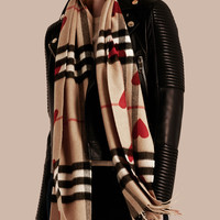 The Classic Cashmere Scarf in Check and Hearts Parade Red   Burberry