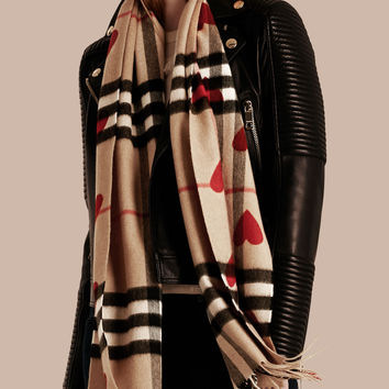 The Classic Cashmere Scarf in Check and Hearts Parade Red | Burberry
