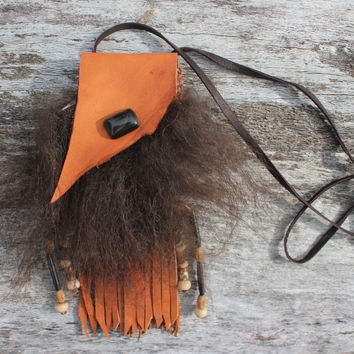 Umber Orange Medicine Bag with Buffalo Fur, Goat Leather,  Deerskin Lace, Blue Tiger's Eye, Buffalo Bone Beads