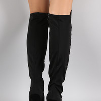 Dollhouse Suede Contrast Panel Stiletto Over-The-Knee Boots