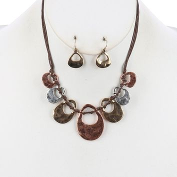 Cutout Multi Cord Bib Two Tone Knotted Necklace Earring Set Bronze