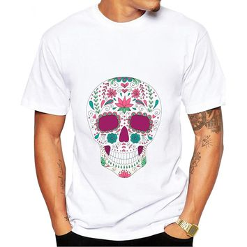 Rose skull print men T-shirt cotton white short-sleeve
