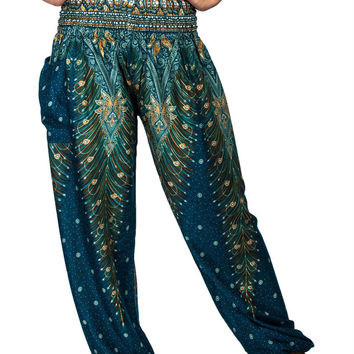 Boho Harem Yoga Pants - Peacock Teal Green