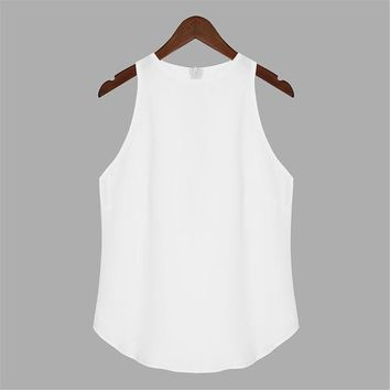 Plus Size Chiffon Women Tank Tops  Summer  Candy Color Halter Neck Sleeveless Solid Camis Sexy Beach Girl Tops S-3XL
