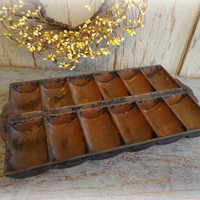 primitive cast iron cornbread pan