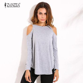LMFMS9 Loose O Neck Long Tops Tee Asymmetrical Off Shoulder Solid Shirt