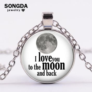 SONGDA Romantic I Love You To The Moon And Back Statement Necklace Planet Galaxy Pattern Glass Crystal Couple Necklace Xmas Gift