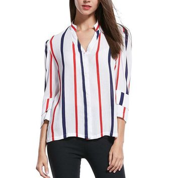 VOND4H Fun Orange New Fashion Women Summer Blouse Casual Chiffon Lantern Sleeve Shirts Half Stand Red Blue Striped Blouse