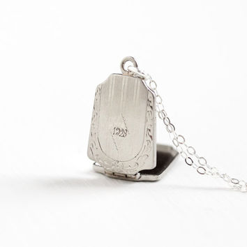 Antique White Gold Filled Dated 1928 Locket Necklace - Vintage Art Deco 1920s Linear Flower Embossed Engraved Sterling Chain Jewelry