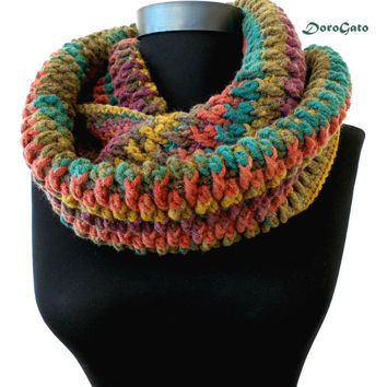 Multicolor infinity scarf, Crochet scarf, crochet scarf Infinity, chunky scarf crochet, ring scarf, Men-Women scarf, scarf infinity