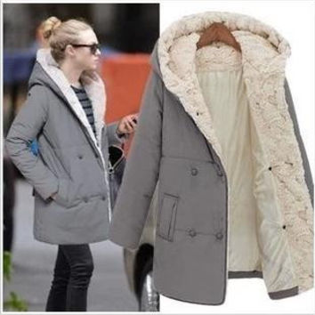 Plus Size Women's Fashion Slim Thicken Cotton Jacket [8077547137]