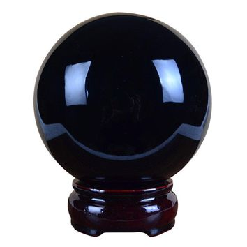 60mm Natural Black Obsidian Divination Sphere Crystal Ball with Wooden Stand Fengshui Ball Decoration