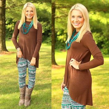 Along For The Ride Tunic in Brown