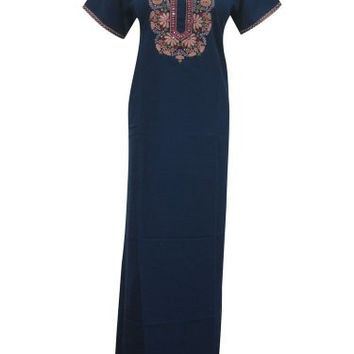 Womans Caftan Abaya Dress Blue Floral Embroidered Caftan Nighty Lounger Medium: Amazon.com: Clothing