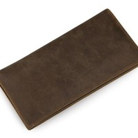 Minimal Dark Brown Leather Long Wallet