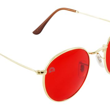 Red Lens / Round Metal Frame