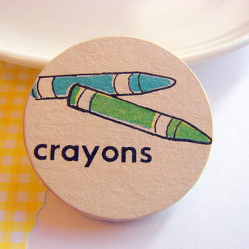 Blue and Green Crayons Pin - Medium Paper and Wood Decoupage Brooch - Vintage Retro School Art Coloring - One of a Kind