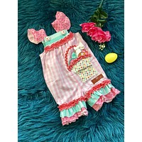 2019 Spring Easter Basket Applique Jay Romper
