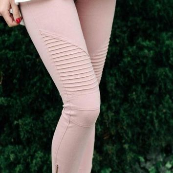 Uptown Moto Leggings - Blush