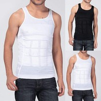 Men's Slim Body Shaper Tummy Belly Fatty Underwear Vest T Shirt Corset Shapewear