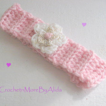Crochet Toddler Head Band / Pink Earwarmer / Photo Prop / Winter Hair Band / White and Gold Flower / Boho Toddler / Winter Baby Fashion