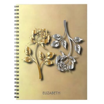 Two Golden And Silver Roses With Shadows Notebook