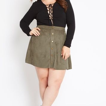 Sorority Faux Suede Skater Skirt Plus Size