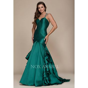 Green Mermaid Ruffled Prom Gown with Sweetheart Neckline