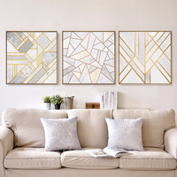 BLINGIRD GY80 Nordic Minimalist Gold Geometric Art Wall Poster Abstract Canvas Print Living room Decor Oil Painting no frame