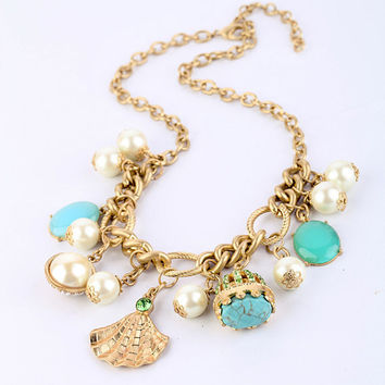 1PC Summer Fashion Alloy Shell Pearl Manmade Turquoise Beads Chain Necklace,Wish Necklace, Friendship Jewelry Back to School Gift