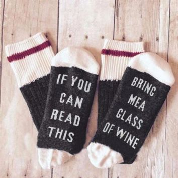 """If You Can Read This Bring Me A Glass of Wine"" Funny Women's Cozy Socks - Perfect Gift for Mom"