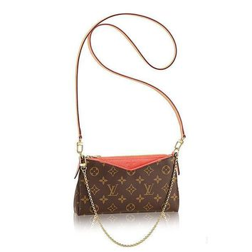 ESBONIA Authentic Louis Vuitton Monogram Canvas Pallas Clutch Handbag Poppy Article: M41733 Made in France