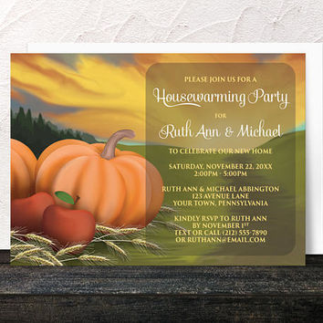 Autumn Harvest Housewarming Invitations - Rustic Country Orange Pumpkin Red Apples and Hay - Farm or Fields - Printed Invitations