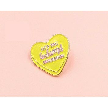 Let's Make Awkward Conversation Enamel Pin in Pink and Yellow