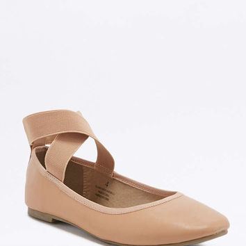 Jane Nude Elastic Ballerina Flats - Urban Outfitters