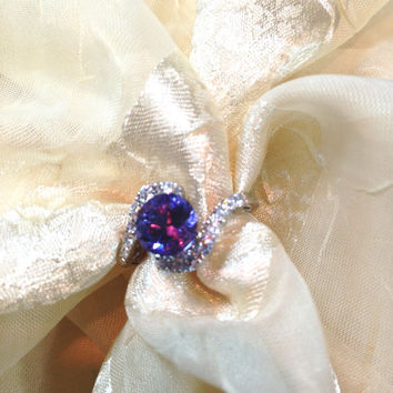 Alexandrite & Topaz Engagement Ring FULL Color Shift Lavender to Baby Blue