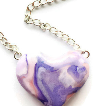 Purple and Pink Heart Necklace, Valentines Day Necklace, Pink Marble Necklace, Mother's Day Gift, Purple Heart Pendant, Polymer Clay Heart