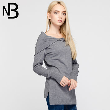 Knit V-neck Long Sleeve Fall Fashion Slim Stylish Tops [6446691268]