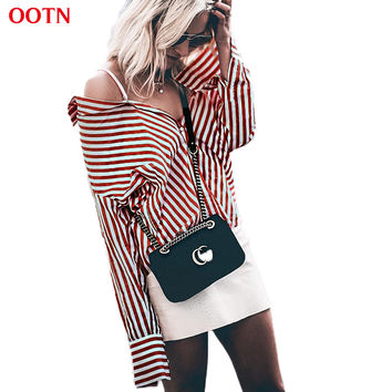 OOTN 4530 red and white striped tunic blouses femininas women button long shirt tops womens summer ladies 2017 blouses