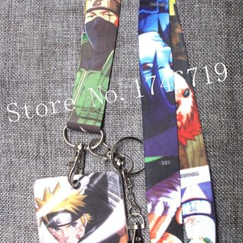 Naruto Sasauke ninja New 1 pcs Japanese anime  Named Card Holder Identity Badge with Lanyard  Neck Strap Card Bus ID Holders With Key Chain T-3 AT_81_8