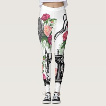 Vintage Sewing Pink Roses Leggings
