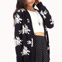 Warm Abstract Floral Cardigan