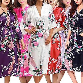 Floral Bride & Bridesmaid Robes, Womens & Child Sizes, Satin Feel, Mid-Length