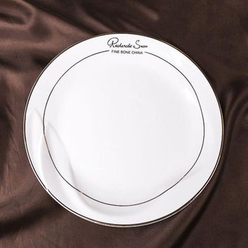 8/10/12inch Flat Plate Bone Chinadish Gold Inlay Ceramic Western Dinner Plate Quality Steak Sandwiches Cold Dish Cake Pasta