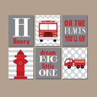 FIRE TRUCK Wall Art CANVAS or Prints Boy Nursery Firetruck Gray Red Places Go Child Dream Big Fireman Hydrant Personalized Name Set of 6