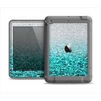 The Aqua Blue & Silver Glimmer Fade Apple iPad Mini LifeProof Nuud Case Skin Set