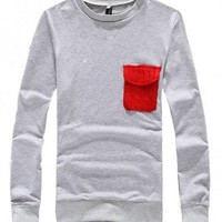 New Autumn or Winter Scoop Fashion Casual Pure Cloth Cotton Light Grey Male Apparel M/L/XL@SJ95518lg $21.69 only in eFexcity.com.