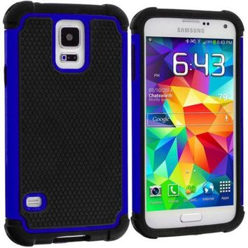 Black / Blue Hybrid Rugged Armor Protector Hard Case Cover for Samsung Galaxy S5