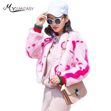 M.Y.FANSTY 2017 Winter Women's Print Letter Mink Coat Jacket Turn-Down Collar Real Fur Coat Contrast Color Short Loss Mink Coats