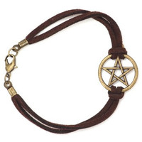 Pentagram Bracelet Antique Gold Tone Brown Faux Leather Band BC31 Pentacle Star Fashion Jewelry
